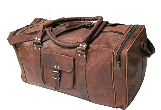 Men/'s Brown Vintage Genuine Leather Goathide Travel Luggage Duffle Gym Bags