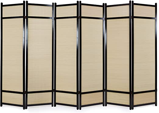 Paravent 6tlg Raumteiler Trennwand Bambus hell Sichtschutz Stellwand Homestyle4u