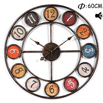Searchyou - Reloj Pared Grande Vintage Silencioso Metal para Cocina - Ø60CM -