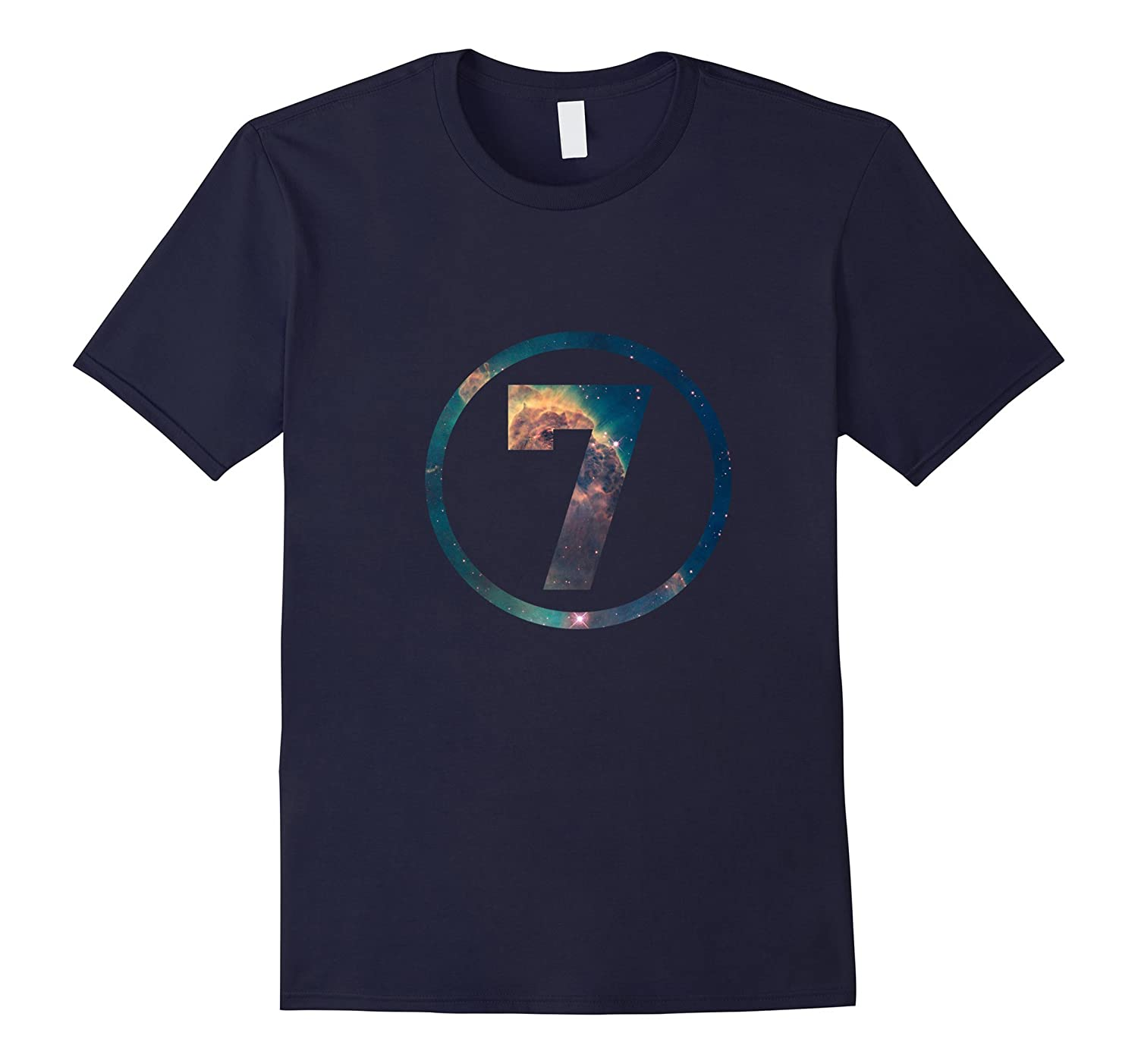7th Birthday 7 Years Old Happy Birthday Space T-Shirt-CL