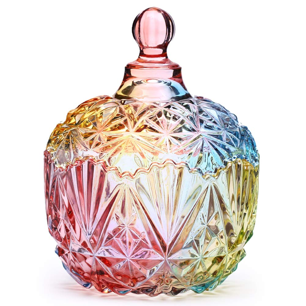 Danmu 1Pc Colorful Glass Storage Jar with Lid Candy Cookie Jar Jewelry Box Buffet Jar Biscuit Containers (750ml / 26oz)