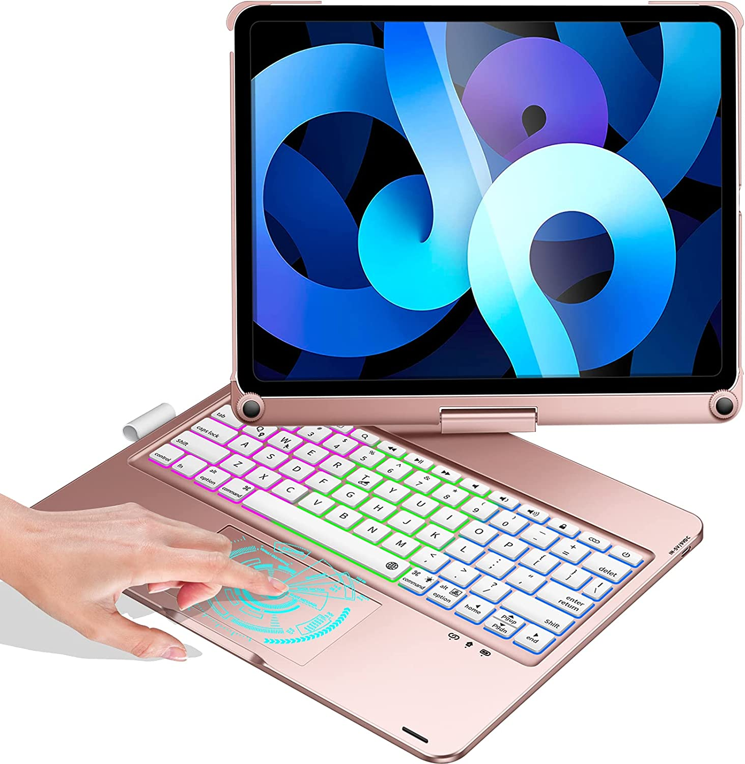 Touchpad Keyboard Case for iPad 10.9-inch Air 4, iPad Pro 11-inch 3rd Gen 2021 / 2nd Gen 2020 / 1st Gen 2018, Compatible with iPad 11/10.9 inch, 360 Rotation, Rainbow Backlights - Rose Gold