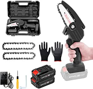 Mini Chainsaw, BAIDREN 4-Inch Cordless Electric Chainsaw Portable Handheld Saw with 2Pcs Rechargeable Battery and 2Pcs Chain, for Farming Tree Limbs, Garden Pruning, Bonsai Trunk, and Firewood - Black