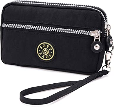 3 Layers Zipper Wallet Purse Waterproof Nylon Handbag Cellphone Bag Storage Pouch Case with Wrist Strap for Apple iPhone Samsung//Key Money MP3 Card Under 6