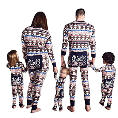 Family Matching Christmas Onesie Pajama PJ Set Xmas Pajamas Sleepwear Nightwear Homewear (S, Blue