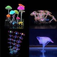 Lychee Aquarium Glowing Mushroom Coral Decorations - Fish Tank Decoration Silicone Ornament,Eco-Friendly Glowing…