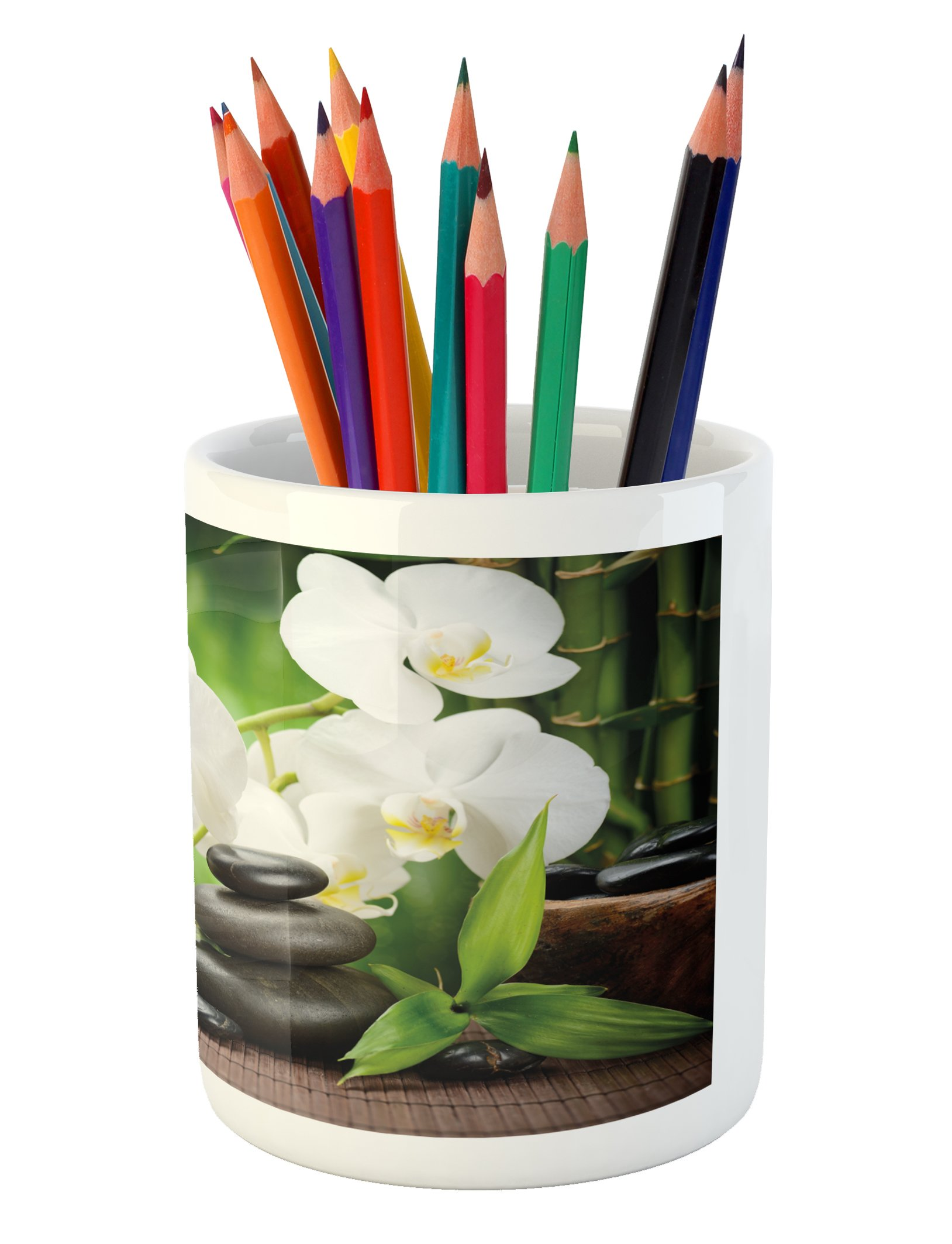 Ambesonne Spa Pencil Pen Holder, Zen Stones with Orchid and Candles Green Plants at the Background Print, Printed Ceramic Pencil Pen Holder for Desk Office Accessory, White Green and Black by Ambesonne (Image #3)