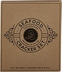 Creative Brands Table Sugar Seafood Cracker and Picks Boxed Gift Set, 5-Pieces, Stainless Steel