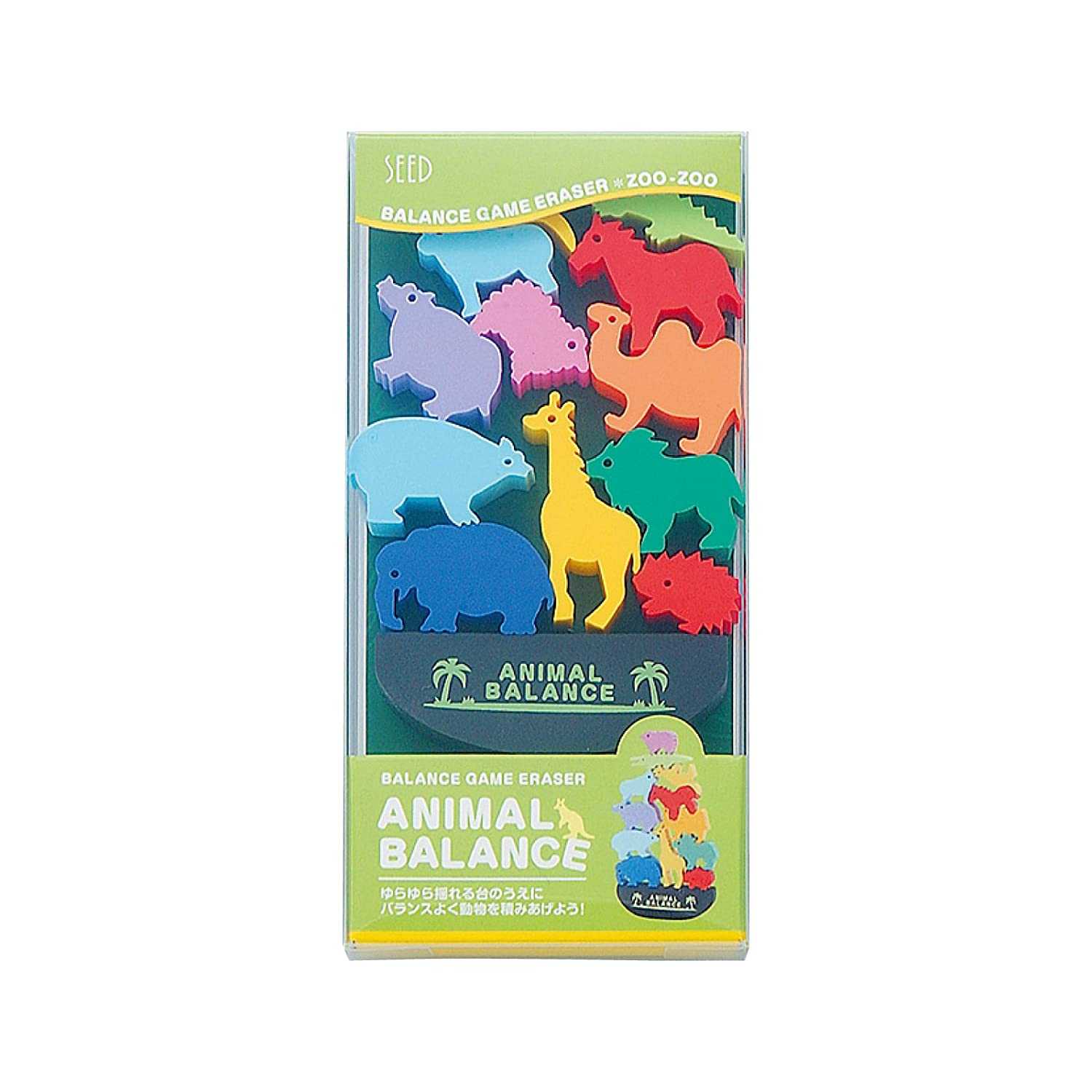 Seed Animal Balance Game Eraser Set - Zoo (japan import) YR-700D