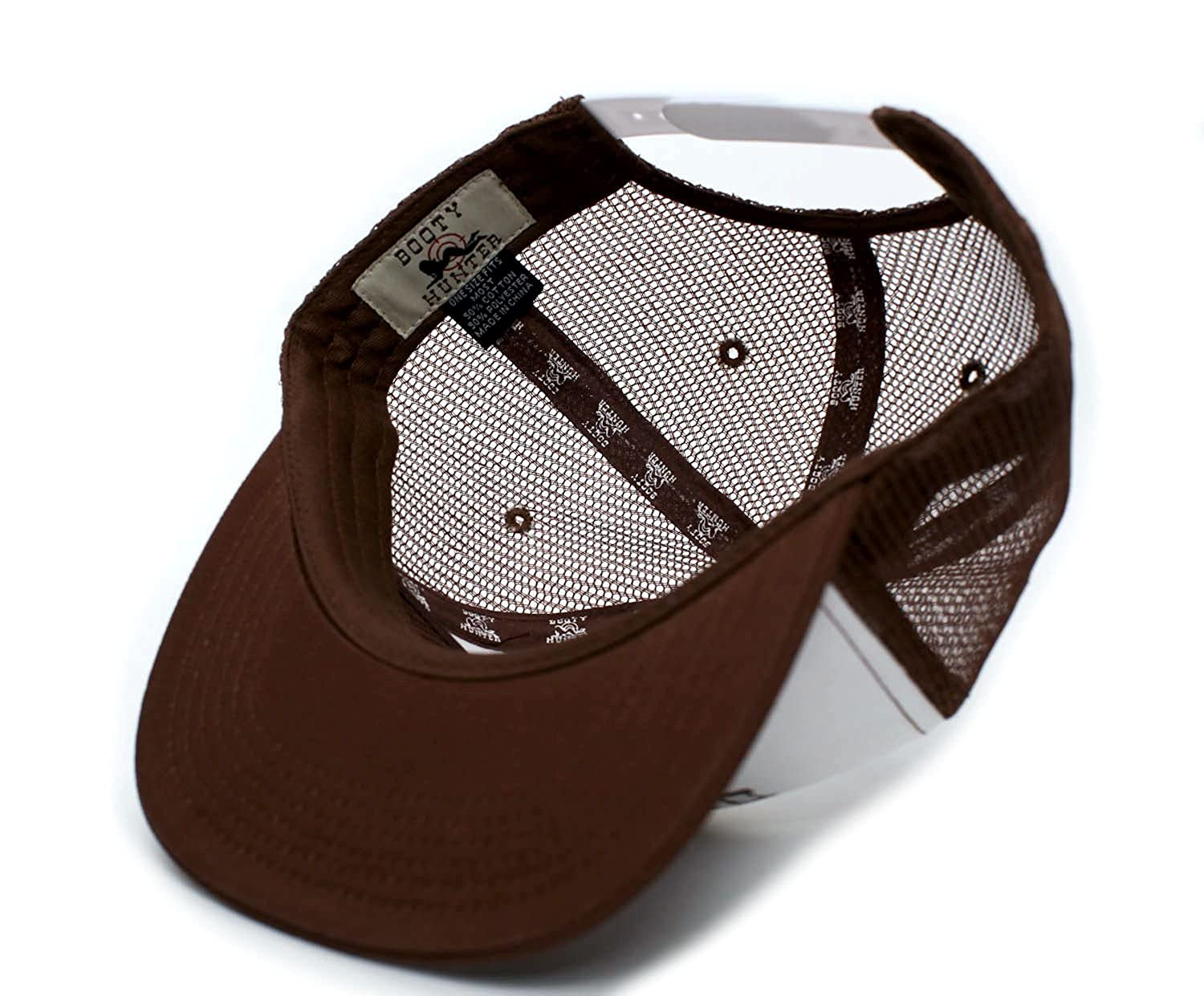 d0e12b23c3133 Booty Hunter Flat Bill Unisex-Adult One-Size Trucker Hat Cap Brown White at  Amazon Men s Clothing store