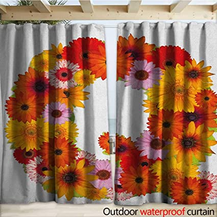 Amazon.com: warmfamily Letter Q Outdoor Door Curtain Floral ...