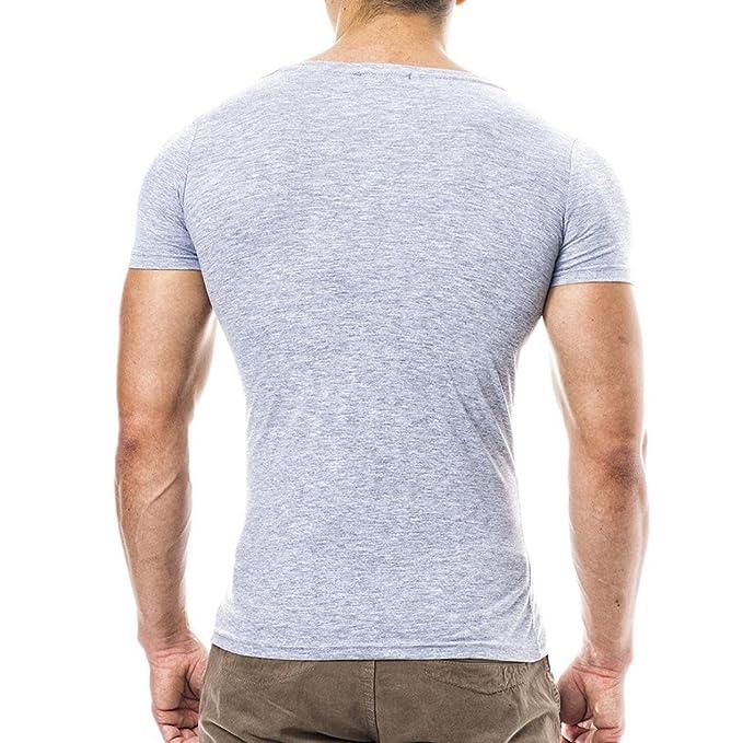 Naturazy-Camiseta Hombres, Blusa Superior De Manga Corta Casual Top Blusa V para Hombre De Verano Delgada SóLida Ocasional De Los Hombres De La Personalidad ...