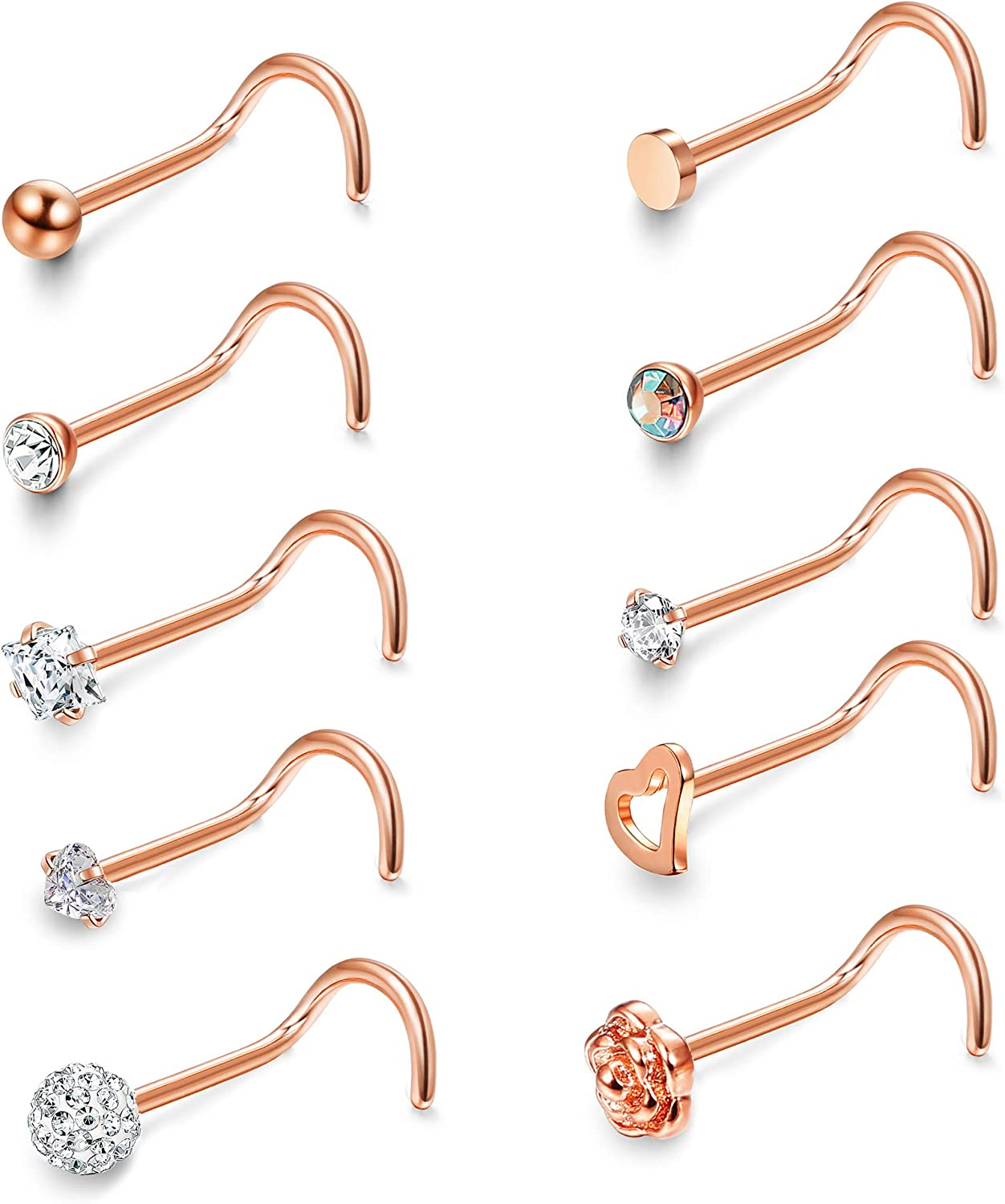 Lot of 10  Ball Top Nose Ring Stainless Steel 20 Gauge 8mm Long Ships from US