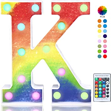 Pooqla Colorful LED Letter Lights with Remote, Light Up Rainbow Marquee Letters, Color Changing Alphabet Signs for Girls Birthday Party Christmas Home Decor, K