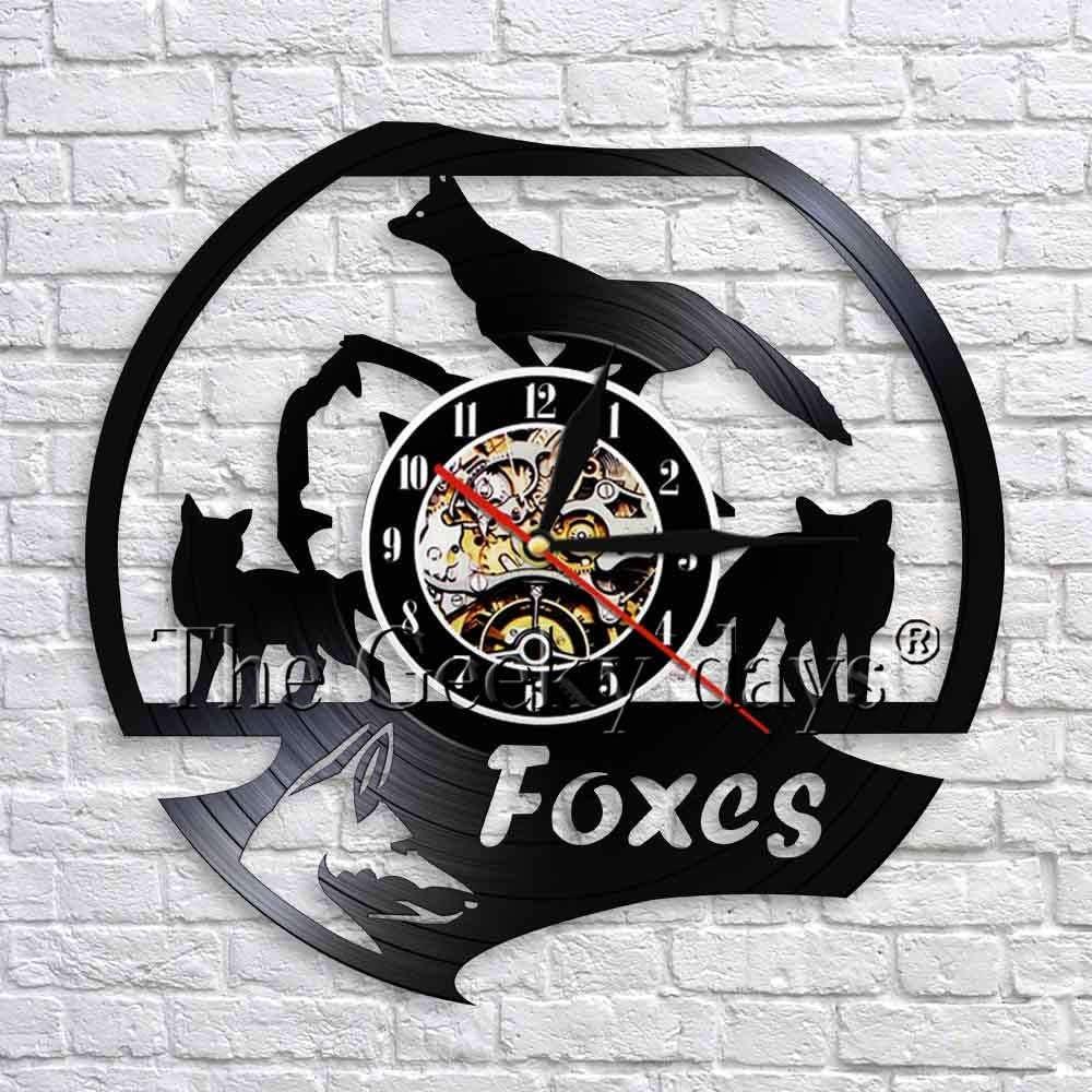 wtnhz LED-Animal Salvaje Zorro Reloj de Pared diseño Moderno Hecho a Mano Disco de Vinilo Reloj de Pared Familia Zorro Reloj de Pared 3D decoración de la Pared del Cuarto de niños