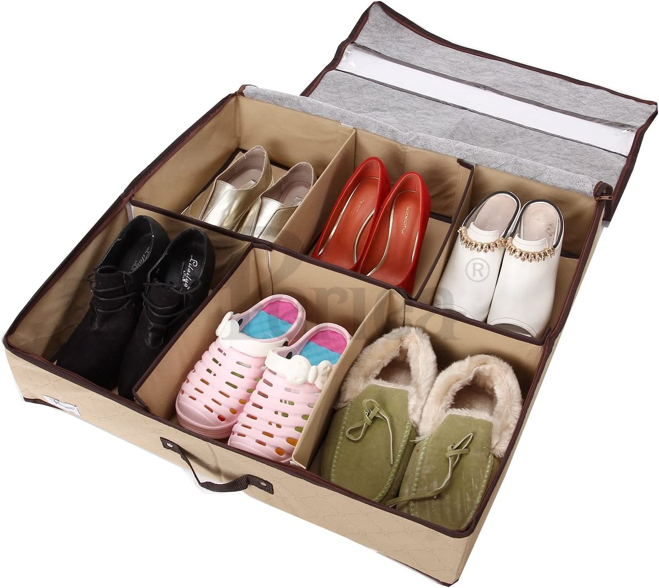 Periea 'Sami' Shoe Organiser - Foldable Shoe Storage Bag/Box for Tidying & Organising Shoes, Trainers, Heels & Boots – Anti-odour & Anti-mould Fabric (Beige)