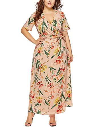 2bc921d6c KILOLONE Women's Plus Size Short Sleeves Wrap V Neck Floral Print Summer  Beach Maxi Dress with Waisted Belt at Amazon Women's Clothing store:
