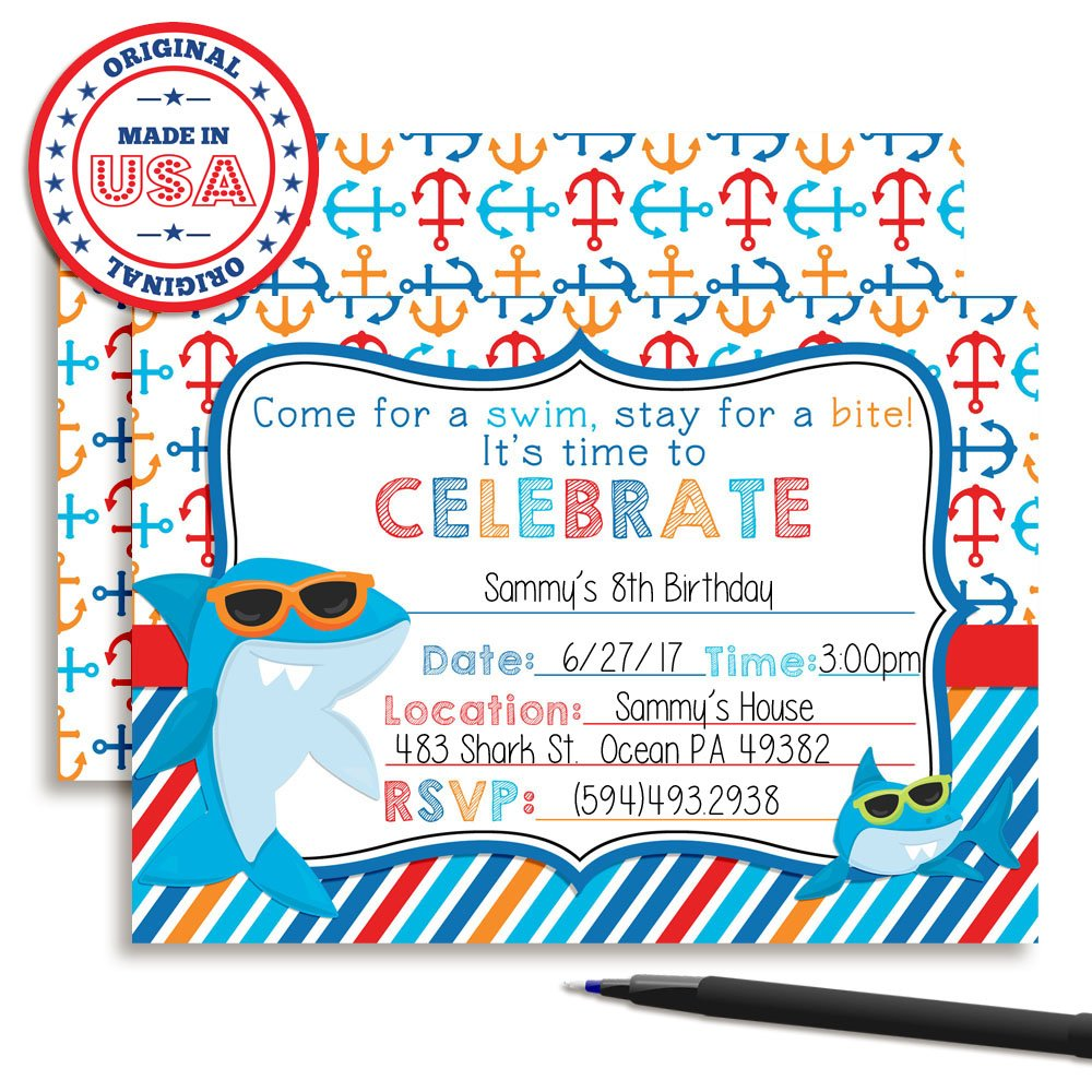 Amazon.com: Shark in Sunglasses Birthday Party Invitations, Ten 5\