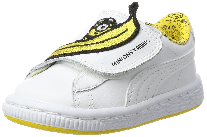 Puma Minions Basket Wrap Leather Inf, Zapatillas Unisex Niños 20 EU Blanco (White-white-minion Yellow)
