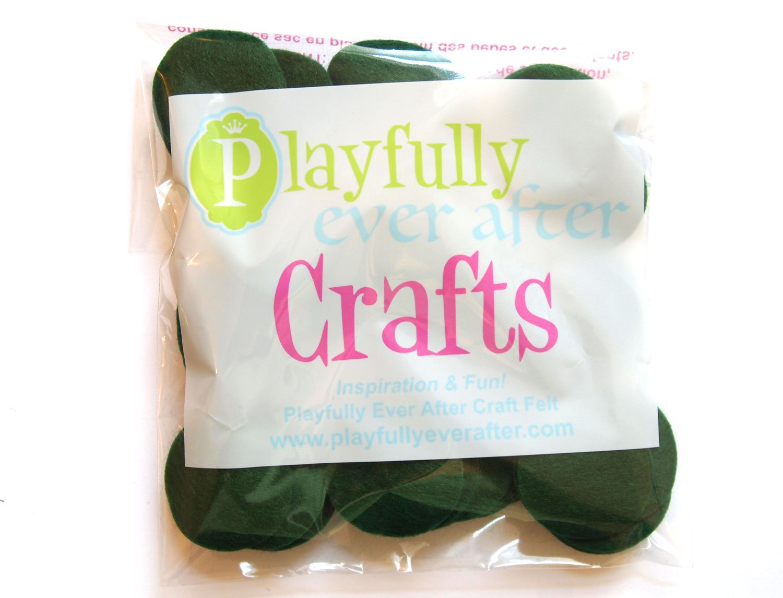 Playfully Ever After 1.5 Inch Dark Green 94pc Felt Circles