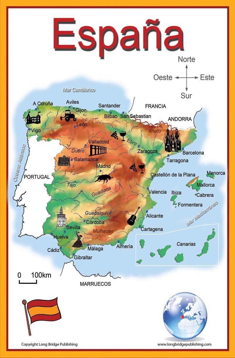 Long Bridge Publishing Español Idioma Escuela Póster – simplificado Mapa de España – Gráfico de Pared para casa y Aula – Español Texto: Amazon.es: Hogar