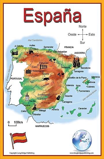 Amazon.com: Spanish Language School Poster - Simplified Map of Spain ...
