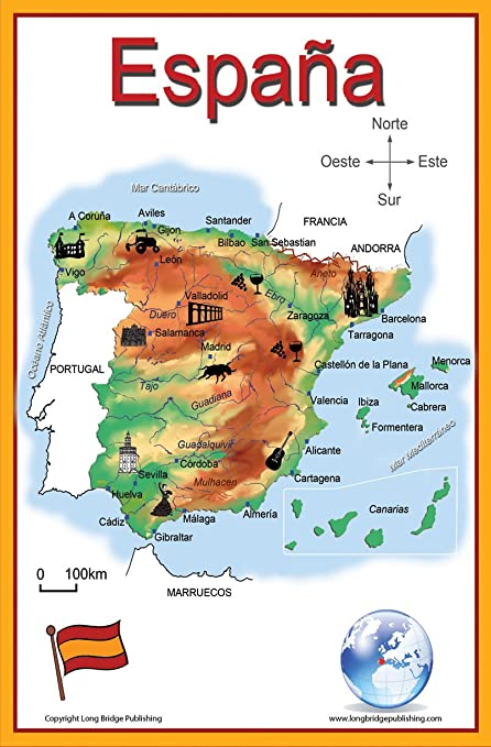 Map Of Spain Almeria.Spanish Language School Poster Simplified Map Of Spain Wall Chart For Home And Classroom Spanish Text