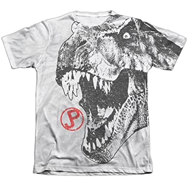 Jurassic Park T Rex Head Mens Sublimation Shirt White SM
