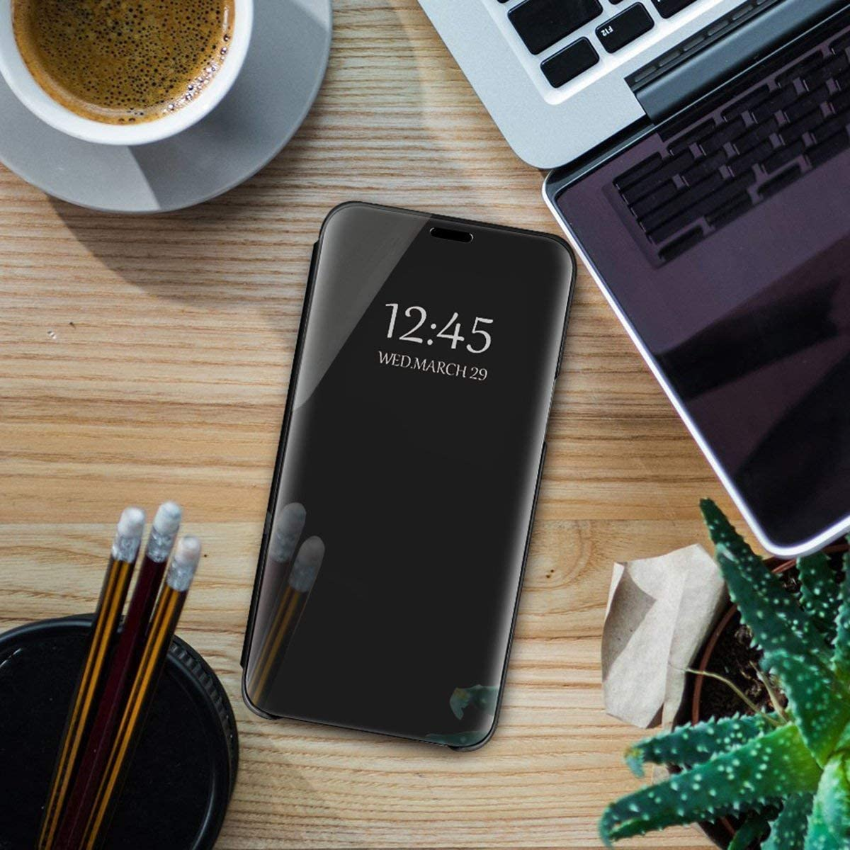 Caler Cover Compatible avec Samsung Galaxy A520//A5 2017 Miroir Coque Intelligente Portefeuille Flip Silicone Transparent Case en Cuir Bumper Folio Protecteur Couverture Mirror Support Shell