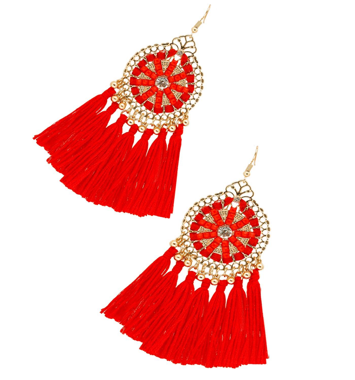 HSWE Short Bright Red Tassel Dangle Earrings for Women Thread Fringe Drop Earrings Custom Jewelry for Lady (bright red)
