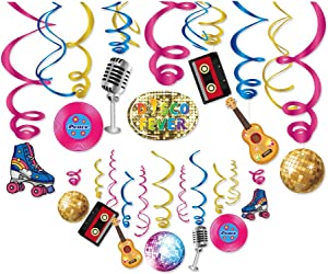 Kristin Paradise 30Ct Disco Hanging Swirl Decorations, 70's Retro Party Supplies, 60's Birthday Theme Decor for Kids Boy Girl Baby Shower, Hippie 1st Bday Favors Idea
