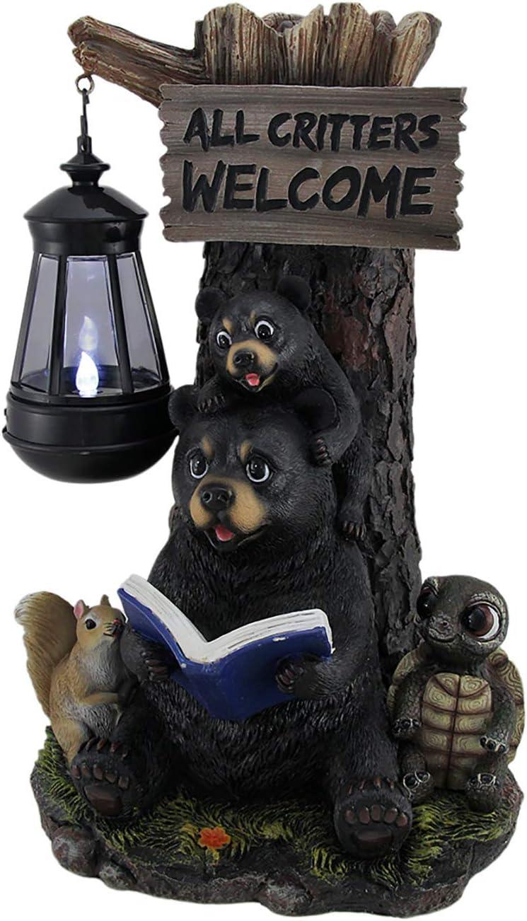 Zeckos Little Critters Reading Bears Welcome Statue W/Solar LED Lantern