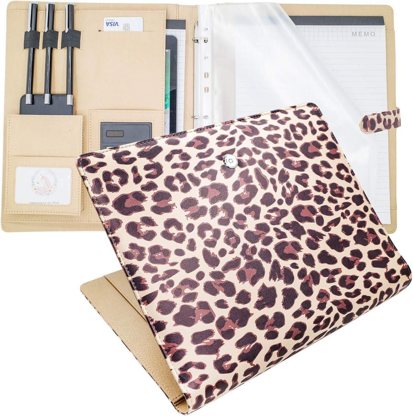 Padfolio Ring Binders Portfolio Clipboard Folder,PU Leather Folder Resume Folder Legal Pad Folder Clipboard with Storage Portfolio Organizer for Women and Mens Job Interviews. (Leopard)