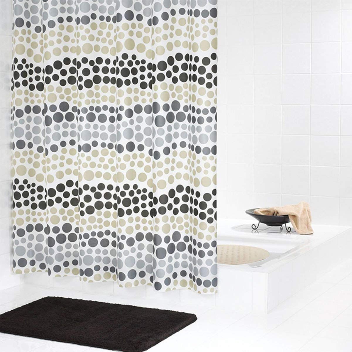 Der Translucent Matte Curtain Padded EVA Bathroom Free Perforated Shower Curtain Waterproof and Anti-Mold Plastic Ring Bathroom Accessories (Color : C)