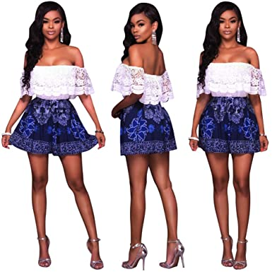 6d3e8ca4849 Women Girls Summer Beach Sexy Off Shoulder Wrapped Floral Printed Romper  Jumpsuit Shorts Party Club Mini