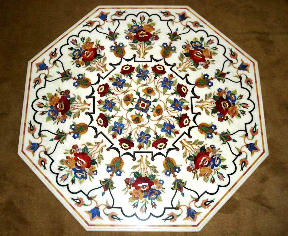Amazon Com 48 X 48 Dining Table Top Marble Inlay Multi Colour Floral Pattern Octagon Table Top Marble Dining Table Semi Precious Stones Inlay Table Handmade