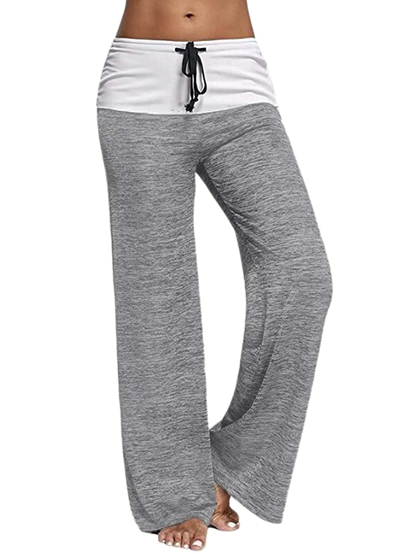 Odosalii Women's Comfy Chic Lounge Drawstring Palazzo Long Wide Leg Yoga Pants