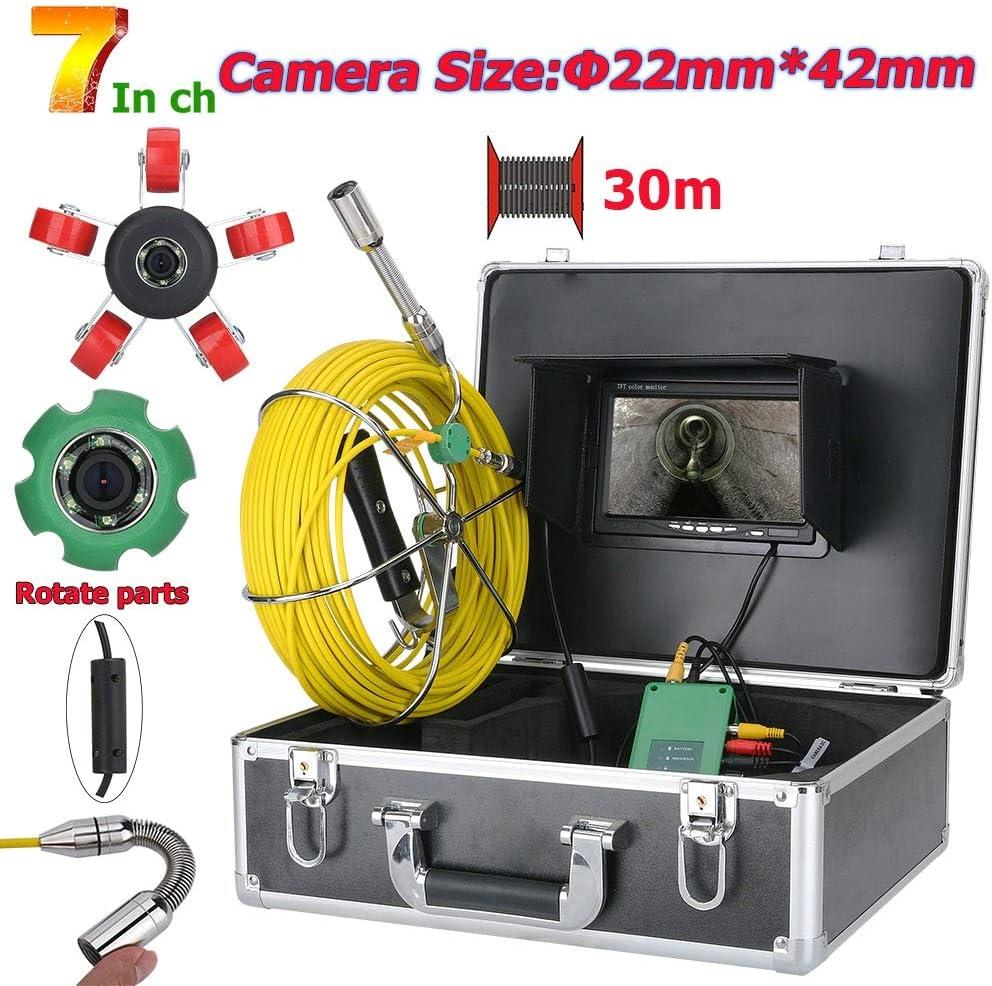 OWSOO Telecamera per Ispezione 7inch 22mm Tubi 30M IP68 Impermeabile Tubo di Scarico Fognatura Sistema di Ispezione Telecamera 1000 TVL con luci a LED da 6W