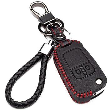 Carcasa Funda de Piel con Llaveros para Llave Control Remoto Chevrolet Aveo Cruze Trax Opel Corsa Mokka Llave 2 Botones Protección Cuero Sintético de ...