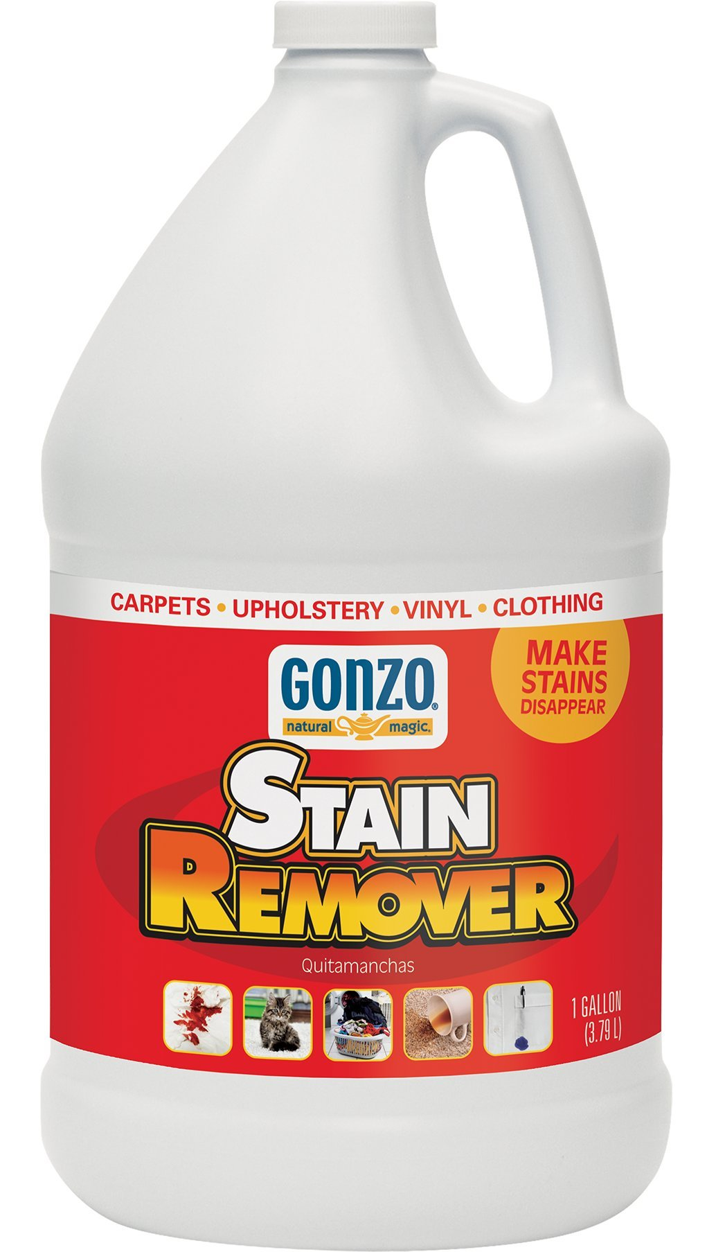 Gonzo Natural Magic Stain Remover - 1 Gallon - Super Strength Commercial Enzyme Cleaner For Pet Stains Removes Pet Urine Non-Toxic Carpet Stain Remover & Laundry Pretreat For Stains