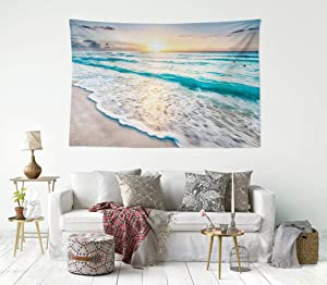 HIYOO Home Beach Waves Sunrise Tapestry Wall Hanging Tropical Ocean Sea Coast Seashore Wall Tapestry, Nature Art Tapestries Decor For Dorm Bedroom Living Room Wall Background 60