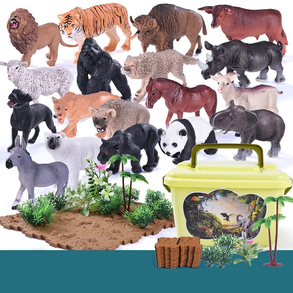 Figura di Animali, 58 Pezzi Mini Jungle Animals Set di Giocattoli, Zoo World Realistic Favors Giocattoli per Ragazzi Kids Toddlers Forest Piccoli Animali della Fattoria Giocattoli Playset