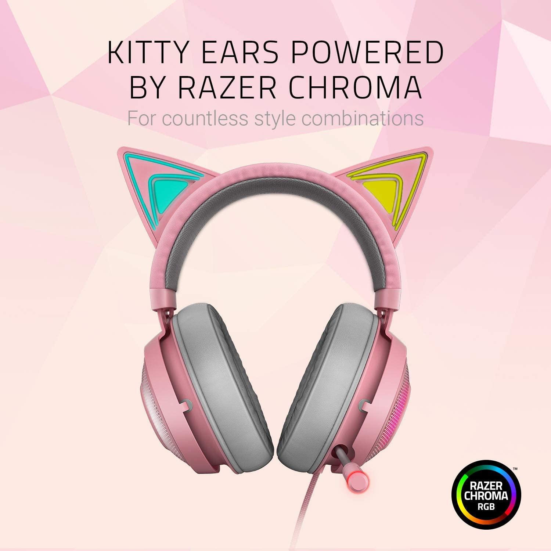 Razer Kraken Kitty Auriculares para juegos (auriculares Cat Ear con iluminación cromática RGB, micrófono con reducción de ruido activa, audio espacial THX, controles en el audífono), Quartz / Rosa: Amazon.es: Informática
