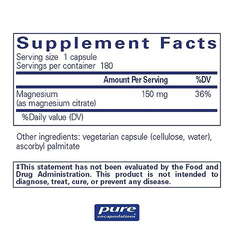 Pure Encapsulations - Magnesium (Citrate) - Hypoallergenic Supplement  Supports Nutrient