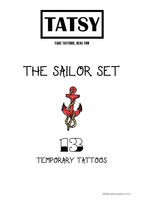 Para Hombre Y Mujer Barco Tatuajes Temporales Tatsy Marino Fiesta Ancla Marinero Set Dise/ño Original Y Oldschool Diversi/ón Tim/ón Adultos Sirena