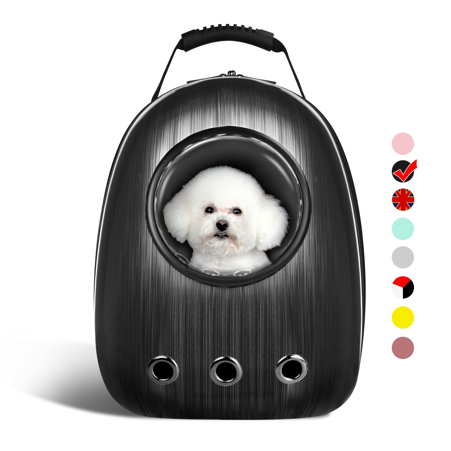 Black AntTech Breathable Pet Travel Backpack Space Capsule Carrier Bag Hiking Bubble Backpack for Cat & Dog Puppy (Black)