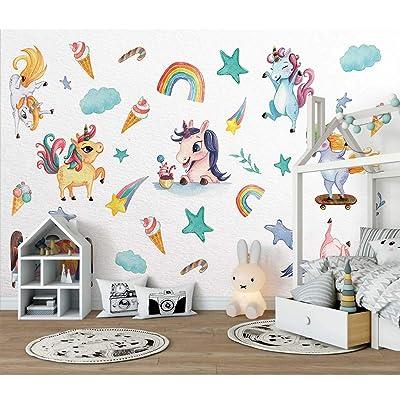 Rainbow Wall Decal, H2MTOOL 2 Sheets Removable Animal Unicorn Wall Stickers for Girls Boys Kids Nursery Rooms Decor (Rainbow Unicorn): Arts, Crafts & Sewing