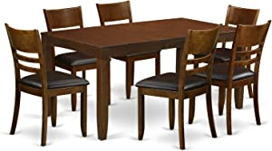 7 Pc Dining room set for 6-Table with Leaf and 6 Kitchen Chairs
