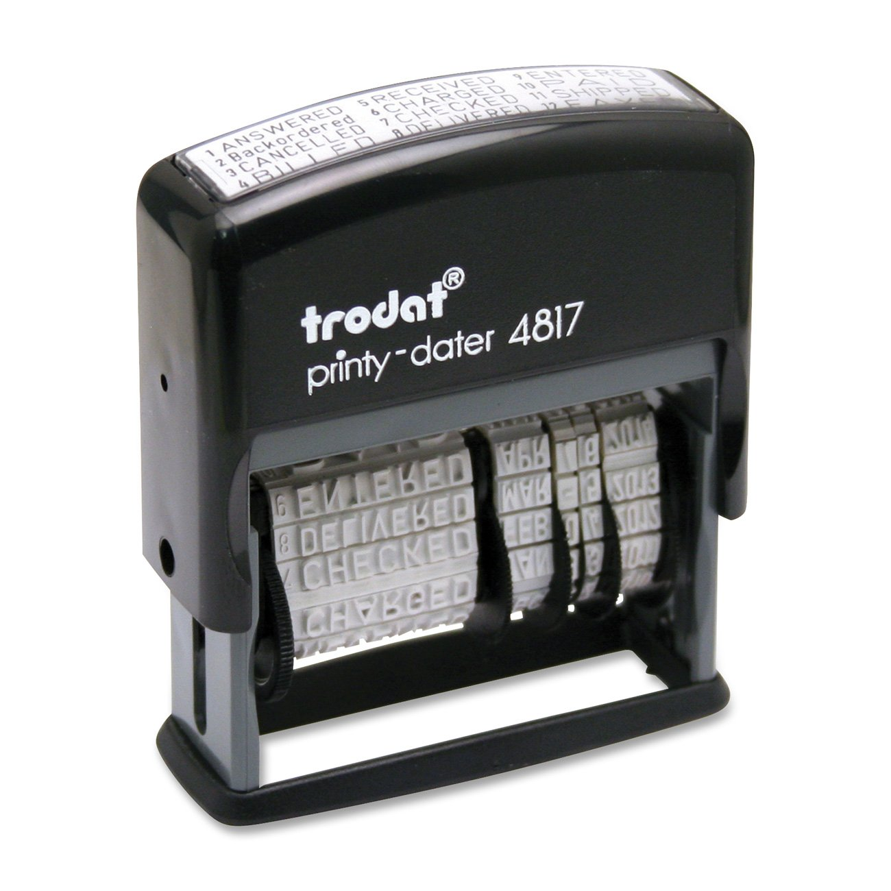 U.S. Stamp and Sign U. S. and Trodat Economy 12-Message, Dater, Self-Inking, 3/8 X 2-Inch, Black (E4817)