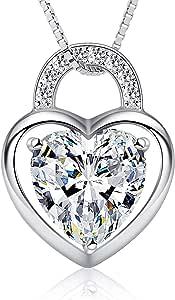 B.Catcher Collares Mujer Corazón Colgante 925 Plata de Ley Candado en Forma de Corazón con San Valentín Regalo Originales Cadena 45cm Longitud
